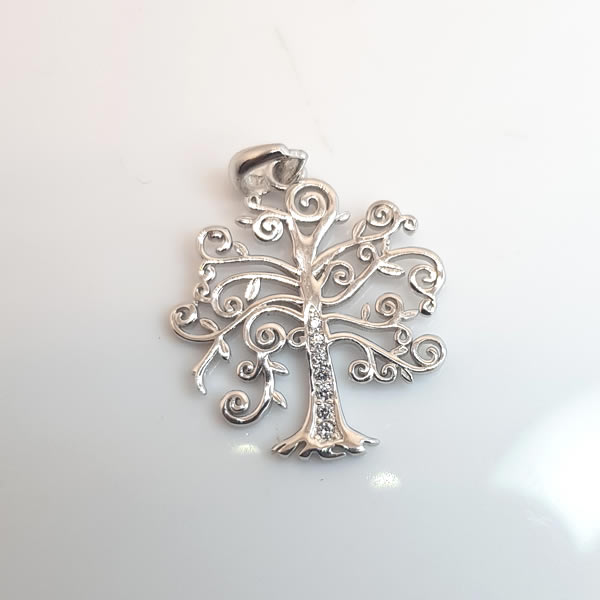P30 Tree of Life CZ 925 Sterling Silver Cubic Zirconia