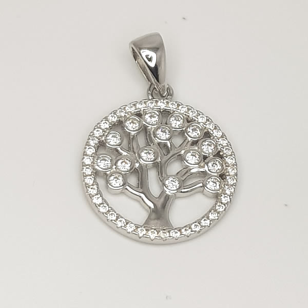 P32 Round CZ Tree of Life 925 Sterling Silver Cubic Zirconia
